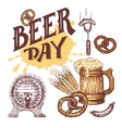 Beer day hand drawn elements set in sketch style vector image vector image