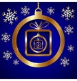 Blue Gold Decorative Christmas Greeting Card vector image vector image