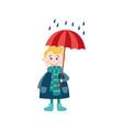 boy keeping umbrella in hand under rain vector image vector image