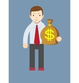 Businessman or banker with a Bag of Gold Cash vector image