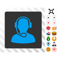 call center operator blue icon with bonus vector image vector image