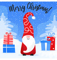 christmas card with cute gnome in funny hat vector image