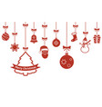 christmas hanging red ornaments isolated vector image