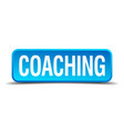 coaching blue 3d realistic square isolated button vector image vector image