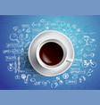 coffee cup concept health icons with hot coffe vector image vector image