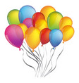 colorful bunch birthday balloons decorative design vector image vector image