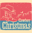 cowboy retro christmas card with western shoe and vector image vector image