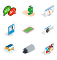 delivery of equipment icons set isometric style vector image