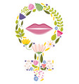 female gender symbol with flowers and lips pop art