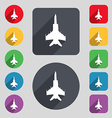 fighter icon sign A set of 12 colored buttons and vector image vector image