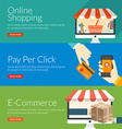 Flat design concept for online shopping pay per vector image