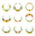 floral wreath with sunflowers and leaves set vector image vector image