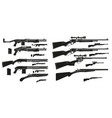 graphic silhouette shotguns and rifles icons vector image vector image