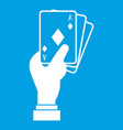 hand holding playing cards icon white vector image vector image