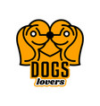 logo on pets heart dogs head in profile vector image vector image