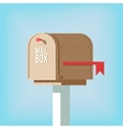 Mail postbox on pole with red flag vector image