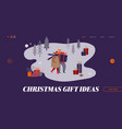 man and woman characters on christmas market vector image vector image