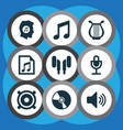 music icons set with headset microphone speaker vector image vector image