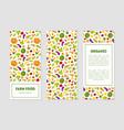 organic farm food banner templates set with fresh vector image vector image