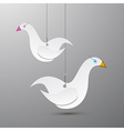 Paper Birds Hang on Rope vector image vector image