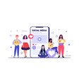 people holding social media icons network chat vector image vector image