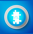 piece of puzzle icon isolated on blue background vector image