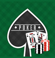 poker sign spade cards and chips gamble green vector image vector image
