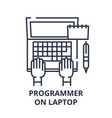 programmer on laptop line icon concept programmer vector image vector image
