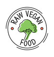 raw vegan food label line style logo with green vector image vector image