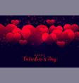 romantic red hearts background for valentines day vector image