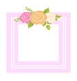 rose pink orange beige flower photo frame greeting vector image