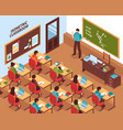 school classroom lesson isometric poster vector image vector image