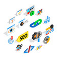 seo icons set isometric 3d style vector image