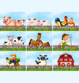 set farming scene vector image