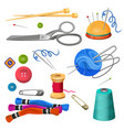 set of accessories for sewing and handicraft vector image vector image
