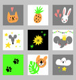 set of cartoon design elements with animals for vector image