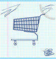 shopping cart line sketch icon isolated on white vector image vector image