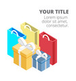 shopping infographic shopping bag gift box backgro vector image vector image