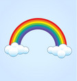 simple classic rainbow with clouds vector image