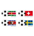 Soccer Ball of Suriname Switzerland Swaziland vector image