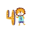 Standing Next To Number Four Stylized Funky Animal vector image vector image