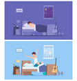 wake up man joyful happy morning sleeping male vector image