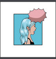 woman with blue hair and speech bubble pop art vector image vector image
