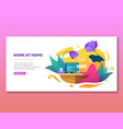 work at home concept in flat style vector image