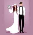 young couple of newlyweds wearing wedding clothes vector image vector image
