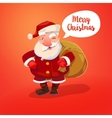 Santa with griting bubble and bag vector image