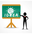 Man points to idea concept on green board vector image