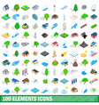 100 elements icons set isometric 3d style vector image vector image