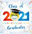 2021 graduation social distanse emoji vector image vector image