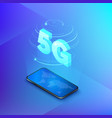 5g fast mobile networks mobile phone with global vector image vector image